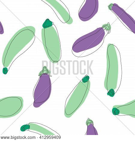 Zucchini Eggplant Seamless Pattern. Simple Flat Hand Drawn Background Vector Design Template. Health