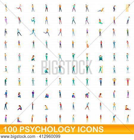100 Psychology Icons Set. Cartoon Illustration Of 100 Psychology Icons Vector Set Isolated On White