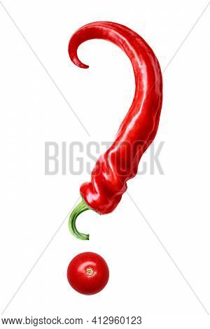 One Pod Of A Red Sharp Hot Chilean Pepper Curved Shape, Similar To A Question Mark With Tomato, Isol