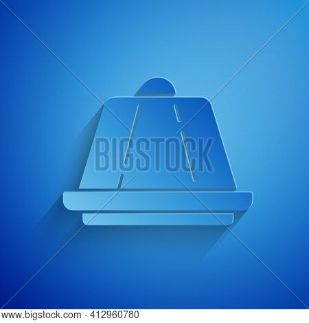 Paper Cut Pudding Custard With Caramel Glaze Icon Isolated On Blue Background. Paper Art Style. Vect