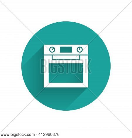 White Oven Icon Isolated With Long Shadow. Stove Gas Oven Sign. Green Circle Button. Vector