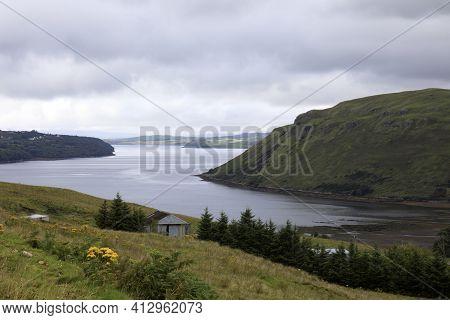 Skye Island (scotland), Uk - August 14, 2018: Typical Landscape Of Scotland, Isle Of Skye, Inner Heb