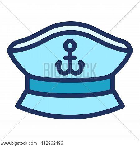 Ship Captain Cap Icon. Outline Ship Captain Cap Vector Icon For Web Design Isolated On White Backgro