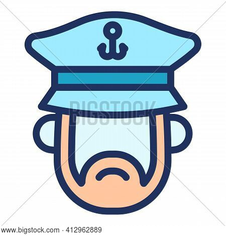 Ship Captain Icon. Outline Ship Captain Vector Icon For Web Design Isolated On White Background