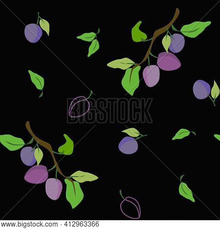 Plums With Leaves And Outline Plums On Black Seamless Vector Pattern Design Eps10