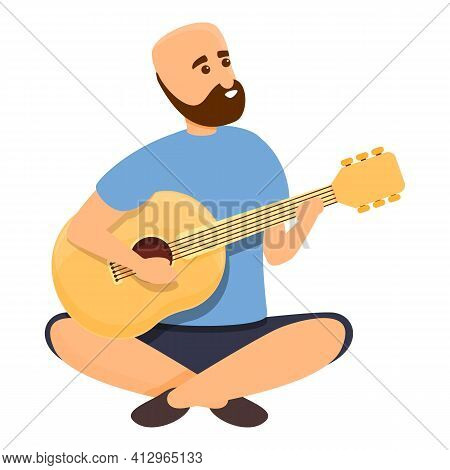 Weekend Play Guitar Icon. Cartoon Of Weekend Play Guitar Vector Icon For Web Design Isolated On Whit