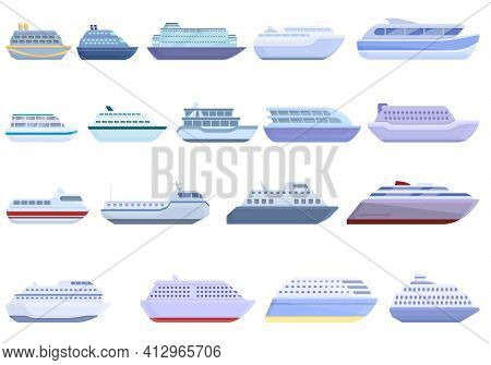 Ferry Icons Set. Cartoon Set Of Ferry Vector Icons For Web Design