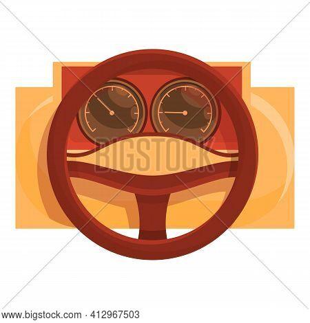 Car Retro Dashboard Icon. Cartoon Of Car Retro Dashboard Vector Icon For Web Design Isolated On Whit