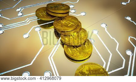 Several Gold Three-dimensional Coins With The Inscription Nft. Background Concept Of Crypto Art. 3D