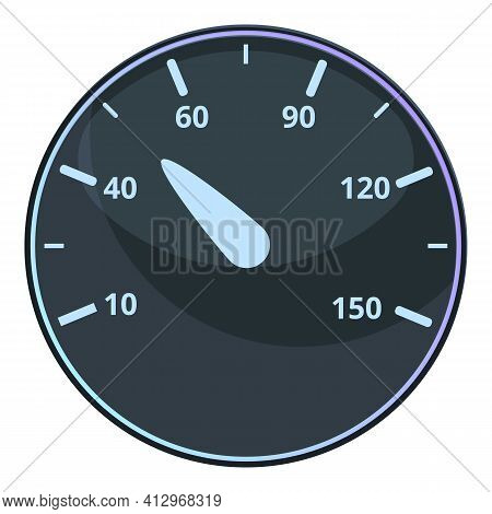 Mile Speedometer Icon. Cartoon Of Mile Speedometer Vector Icon For Web Design Isolated On White Back