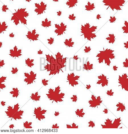 Seamless Pattern With Shabby Red Maple Leaves With Little Stem. Vector Background. Autumn Wallpaper.
