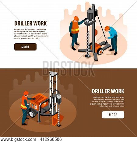 Driller Engineer Work Equipment Machinery 2 Isometric Horizontal Web Banners With Well Drilling Proc