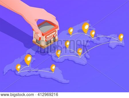Franchise Isometric Composition With Location And Finance Symbols Vector Illustration
