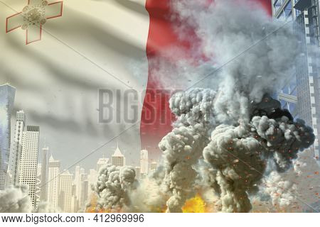 Large Smoke Column With Fire In The Modern City - Concept Of Industrial Disaster Or Terroristic Act