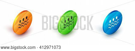 Isometric Waves Of Water And Evaporation Icon Isolated On White Background. Circle Button. Vector