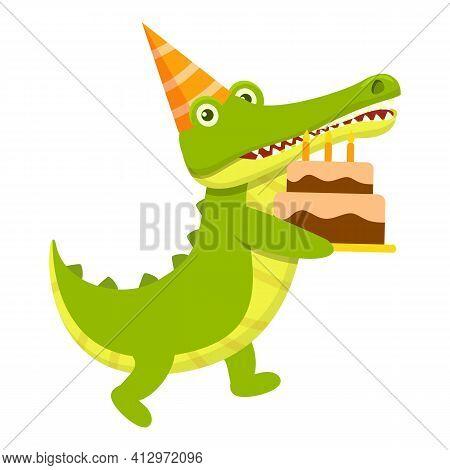 Crocodile Birthday Cake Icon. Cartoon Of Crocodile Birthday Cake Vector Icon For Web Design Isolated