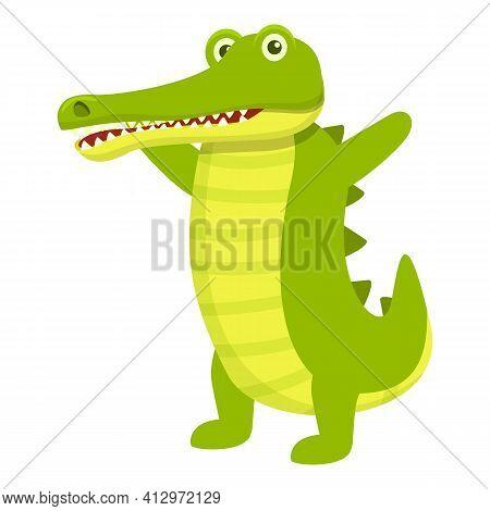 Smiling Crocodile Icon. Cartoon Of Smiling Crocodile Vector Icon For Web Design Isolated On White Ba