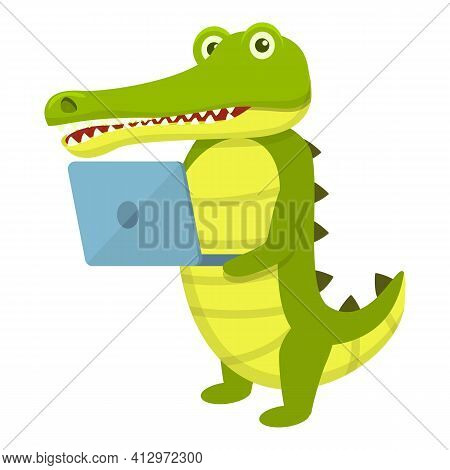 Crocodile With Laptop Icon. Cartoon Of Crocodile With Laptop Vector Icon For Web Design Isolated On