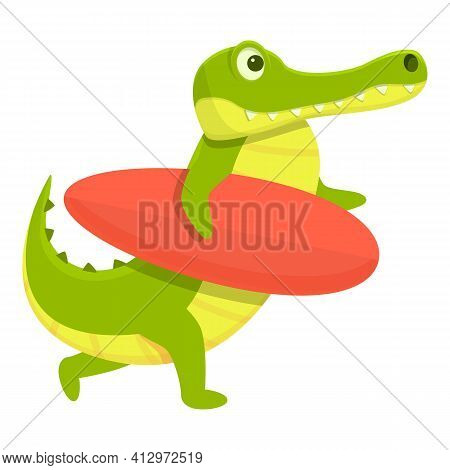 Surfing Crocodile Icon. Cartoon Of Surfing Crocodile Vector Icon For Web Design Isolated On White Ba