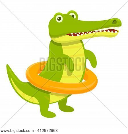 Crocodile With Swimming Ring Icon. Cartoon Of Crocodile With Swimming Ring Vector Icon For Web Desig