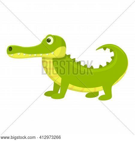 Kid Crocodile Icon. Cartoon Of Kid Crocodile Vector Icon For Web Design Isolated On White Background