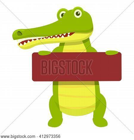 Crocodile Wood Board Icon. Cartoon Of Crocodile Wood Board Vector Icon For Web Design Isolated On Wh