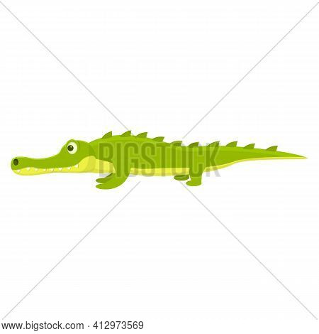 Zoo Crocodile Icon. Cartoon Of Zoo Crocodile Vector Icon For Web Design Isolated On White Background