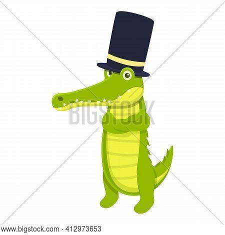 Top Hat Crocodile Icon. Cartoon Of Top Hat Crocodile Vector Icon For Web Design Isolated On White Ba