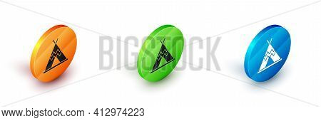 Isometric Traditional Indian Teepee Or Wigwam Icon Isolated On White Background. Indian Tent. Circle