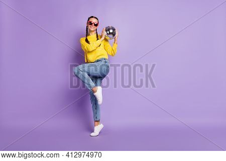 Photo Of Pretty Shiny Lady Pigtails Dressed Sweater Glasses Dancing Holding Discoball Isolated Viole