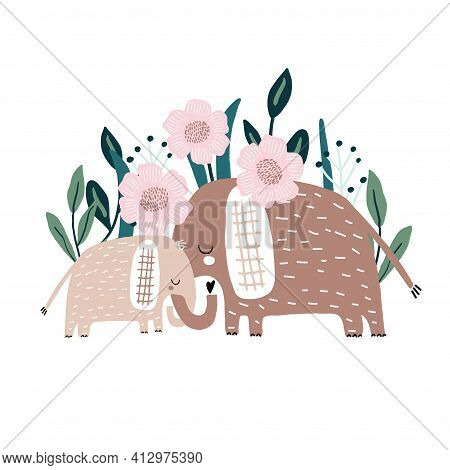 Cute Hand Drawn Elephanst Mom And Baby With Floral Bacground. Cartoon Vector Illustration In Scandin
