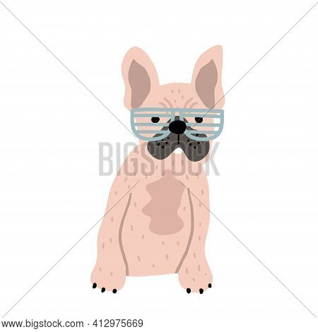 Funny French Bulldog In Glasses Print. Perfect For T-shirt, Apparel, Cards, Poster, Nursery Decorati