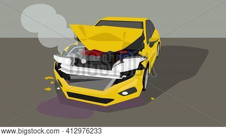 Accident Picture Of A Passenger Car. Bonnet Was Opened And The Front Was Severely Damaged. With Smok