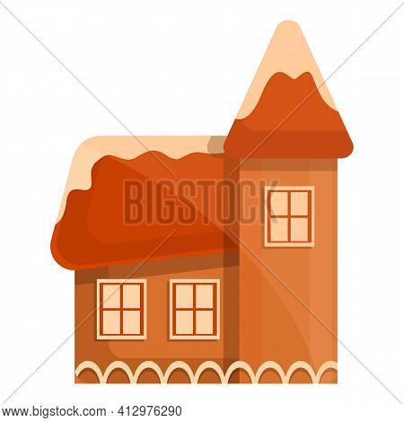 Gingerbread Cottage Icon. Cartoon Of Gingerbread Cottage Vector Icon For Web Design Isolated On Whit