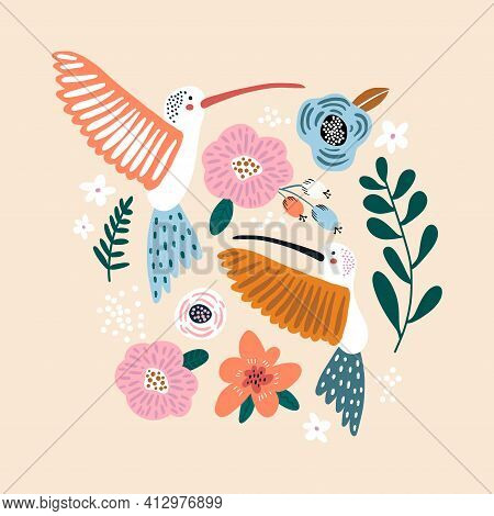 Creative Hummingbirds With Flowers. Spring And Summer Illustration. It Can Be Used For Greeting Card