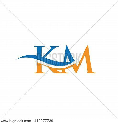 Modern Km Logo Design For Business And Company Identity. Creative Km Letter With Luxury Concept.