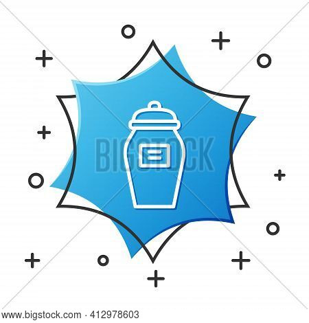 White Line Funeral Urn Icon Isolated On White Background. Cremation And Burial Containers, Columbari