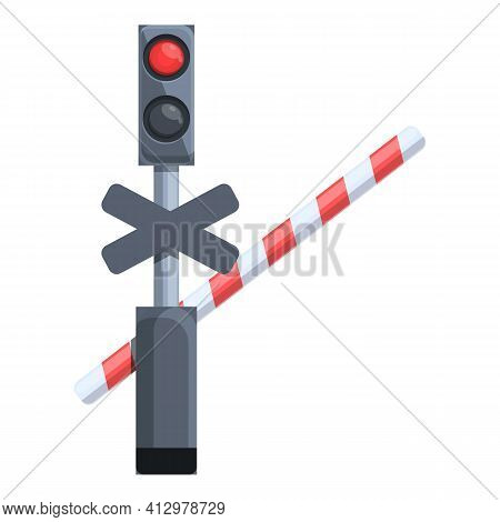 Railroad Barrier Icon. Cartoon Of Railroad Barrier Vector Icon For Web Design Isolated On White Back