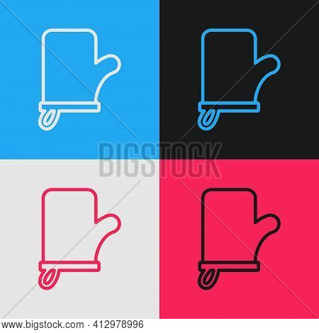 Pop Art Line Sauna Mittens Icon Isolated On Color Background. Mitten For Spa. Vector