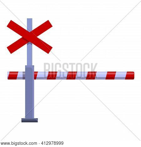 Railroad Barrier Caution Icon. Cartoon Of Railroad Barrier Caution Vector Icon For Web Design Isolat