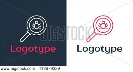 Logotype Line Flea Search Icon Isolated On White Background. Logo Design Template Element. Vector