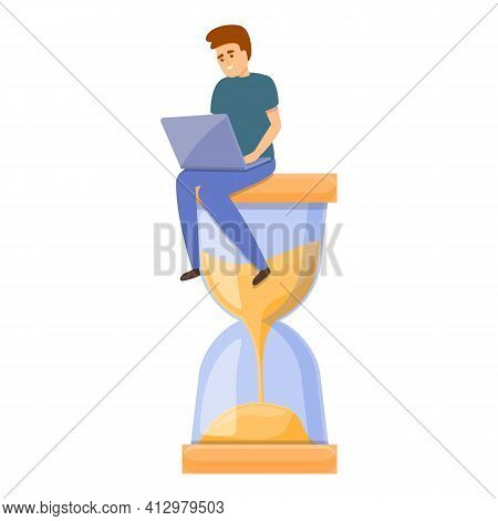 Hourglass Time Management Icon. Cartoon Of Hourglass Time Management Vector Icon For Web Design Isol
