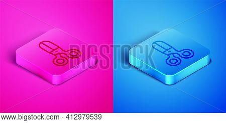 Isometric Line Scissors Hairdresser Icon Isolated On Pink And Blue Background. Hairdresser, Fashion