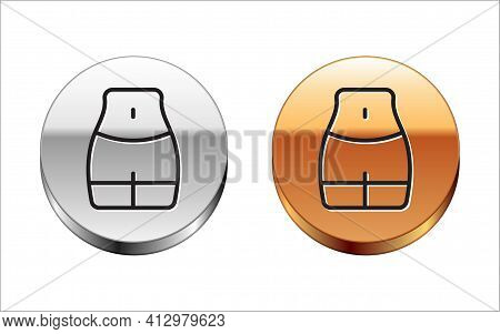 Black Line Women Waist Icon Isolated On White Background. Silver-gold Circle Button. Vector