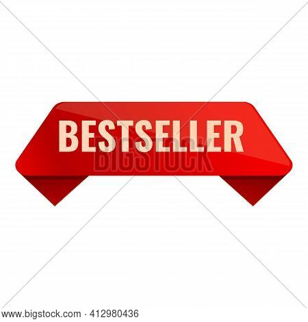Best Seller Red Ribbon Icon. Cartoon Of Best Seller Red Ribbon Vector Icon For Web Design Isolated O