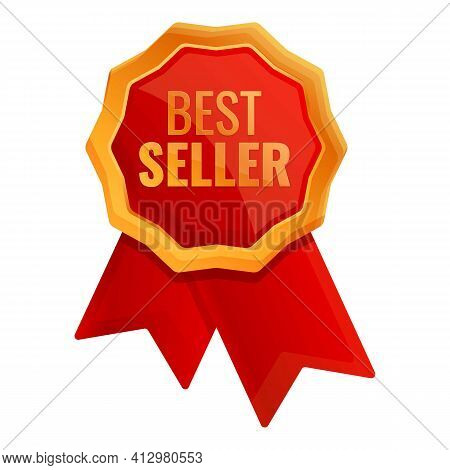 Best Seller Emblem Icon. Cartoon Of Best Seller Emblem Vector Icon For Web Design Isolated On White