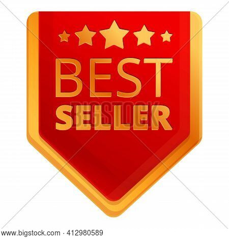 Best Seller Sale Tag Icon. Cartoon Of Best Seller Sale Tag Vector Icon For Web Design Isolated On Wh