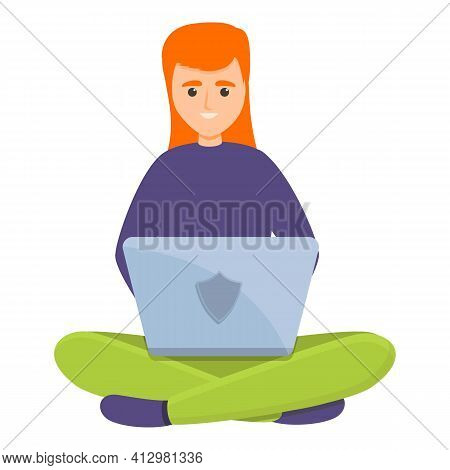 Web Online Laptop Privacy Icon. Cartoon Of Web Online Laptop Privacy Vector Icon For Web Design Isol