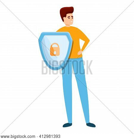 Shield Secured Privacy Icon. Cartoon Of Shield Secured Privacy Vector Icon For Web Design Isolated O