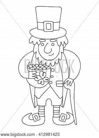 Leprechaun With Pot Of Gold And Shillelagh Linear Stock Vector Illustration. Funny Cartoon Irish Fol